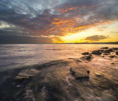 Sticker Krajobraz morski, zachód słońca