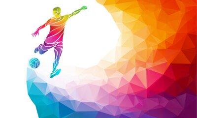 Sticker Kreative Silhouette der Fußballspieler. Fußballspieler tritt den Ball in trendy abstrakte bunte Polygon Regenbogen zurück