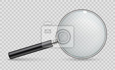 Sticker Kreative Vektorillustration des realistischen Vergrößerungsglases lokalisiert auf transparentem Hintergrund. Kunstdesignsuche, Inspektionssymbol. Vergrößerungslupe des abstrakten Begriffs, Werkzeug mi