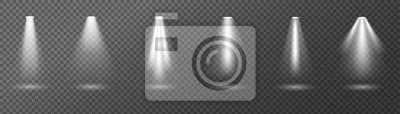 Sticker Kreative Vektorillustration von hellen Lichtscheinwerfern, Lichtquellen lokalisiert auf transparentem Hintergrund.  Kunstdesignstrahl für Konzert, Szenenbeleuchtung.  Grafisches Element des abstrakten