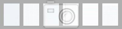 Sticker Kreative Vektorillustration von realistischen quadratischen, linierten Papierleerblattsätzen lokalisiert auf transparentem Hintergrund.  Kunst Design Linien, Raster Seite Notizbuch mit Rand.  Grafisch