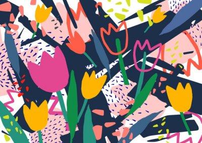 Sticker Kreativer horizontaler Hintergrund mit Tulpenblumen und bunten abstrakten Flecken und Kritzeleien.  Heller farbiger dekorativer Hintergrund.  Trendige künstlerische Vektorillustration im zeitgenössisc
