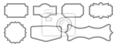 Sticker Kreativer Vektorillustrationssatz dekorative Weinleserahmen lokalisiert auf transparentem Hintergrund. Art Design Border Etiketten. Leere Rahmen Vorlage. Grafisches Retro- Element des abstrakten Konze