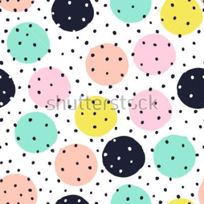 Sticker Kreatives nahtloses Muster mit Hand gezeichneten Beschaffenheiten. Abstrakter Hintergrund. Punktmuster.