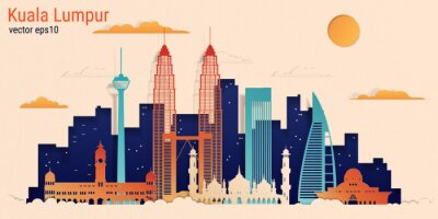 Kuala Lumpur city colorful paper cut style, vector stock illustration. Cityscape with all famous buildings. Skyline Kuala Lumpur city composition for design.