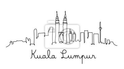 Kuala Lumpur city skyline in one line style