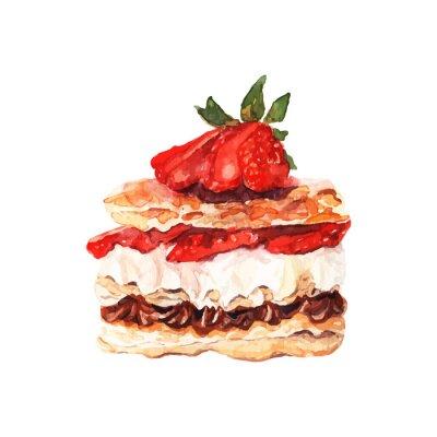 Sticker Kuchen mit Beeren gezeichnet Aquarell. Design für Banner und Karten.