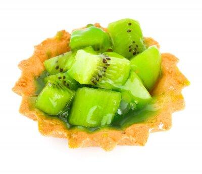 Sticker Kuchen mit Obst kiwi isoliert auf weiß