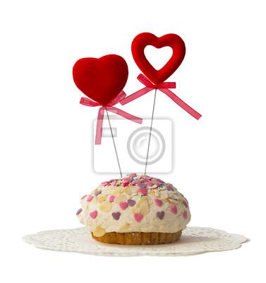 Kuchen mit zwei roten Herzen