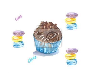 Kuchen schokolade / hand gezeichnet aquarell cupcake mit schokolade ...