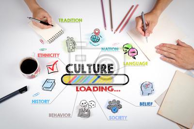 Sticker Kultur-Konzept. Das Treffen am weißen Bürotisch.