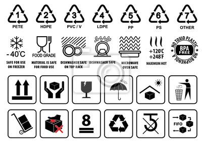 kunststoff recycling symbole geschirr zeichen und verpackung notebook sticker wandsticker. Black Bedroom Furniture Sets. Home Design Ideas
