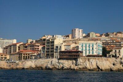 Küste von Marseille, von einem touristischen Kreuzfahrt Boot erschossen