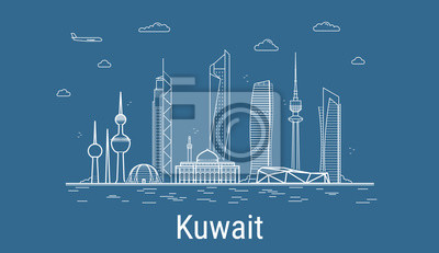 Kuwait city, Line Art Vector illustration with all famous buildings. Linear Banner with Showplace. Composition of Modern buildings, Cityscape. Kuwait buildings set.