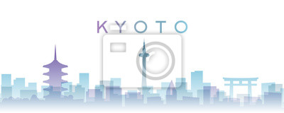 Kyoto Transparent Layers Gradient Landmarks Skyline