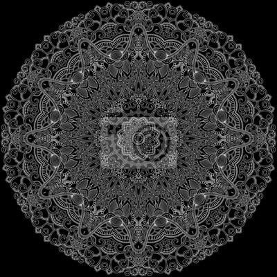 Lace ornamentalen Kreis auf schwarzem Hintergrund