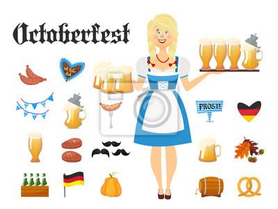 Lächelnde bayerische Frau Blondine gekleidet in traditionelle Kostüm und Schürze mit Biergläsern und Satz von Oktoberfest Ikonen. Traditionelle Symbole der Herbst Urlaub von Bier isoliert auf weißem H