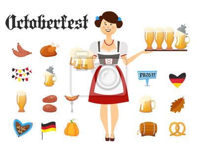 Lächelnde bayerische Frau Brünette gekleidet in traditionelle Kostüm und Schürze mit Biergläsern und Satz von Oktoberfest Ikonen. Traditionelle Symbole der Herbst Urlaub von Bier isoliert auf weißem H