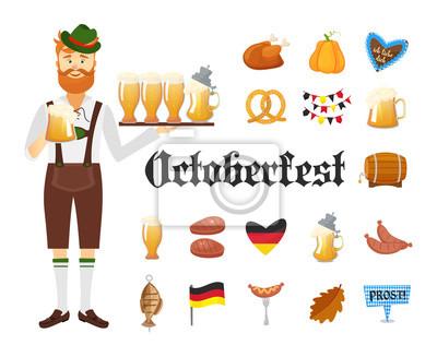 Lächelnder bayerischer Mann mit rotem Bart und Schnurrbart, gekleidet in traditionellem Kostüm und Hut mit Biergläsern und Satz von Oktoberfest Ikonen. Traditionelle Symbole der Herbst Urlaub von Bier
