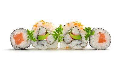 Sticker Lachs-Sushi Maki und California Rolls