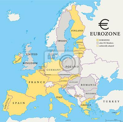 Sticker Länder der Eurozone Map
