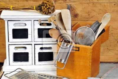 Küche Alt | Landhaus Kuche Alt Holz Teeschrank Notebook Sticker Wandsticker