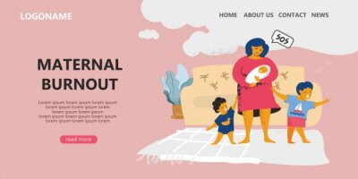 Landing page template about mom's emotional burnout and postpartum depression. A lonely sad woman with three crying children over whom the clouds hung. Banner about sress at home. Vector illustration.