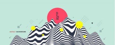 Sticker Landscape background. Terrain. Asian vector illustration.