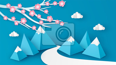 Landscape of Mountain and cherry blossom in the Spring season. Spring scenery design. paper cut and craft style. vector, illustration.
