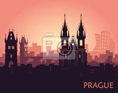 Landscape of Prague with sights. Abstract skyline