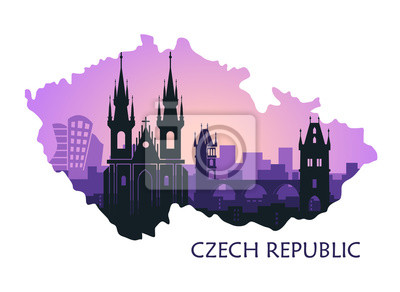 Landscape of Prague with sights. Abstract skyline in the form of a map of the Czech Republic