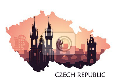 Landscape of Prague with sights. Abstract skyline in the form of maps Czech Republic