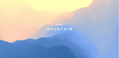 Sticker Landscape with mountains and sun. Sunrise. Mountainous terrain. Abstract background. Vector illustration.
