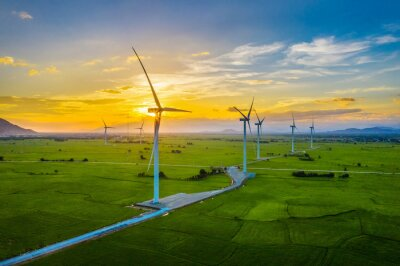 Sticker Landscape with Turbine Green Energy Electricity, Windmill for electric power production, Wind turbines generating electricity on rice field at Phan Rang, Ninh Thuan, Vietnam. Clean energy concept.