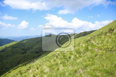 Landschaft der Hügel mit grünem Gras und blauer Himmel cloudly
