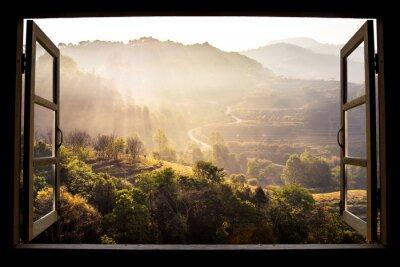 Sticker Landschaft Natur Blick Hintergrund. Blick vom Fenster auf eine wunderschöne Landschaft Naturansicht mit Reisterrassen und Platz für Ihren Text in Chiangmai, Thailand, Indochina