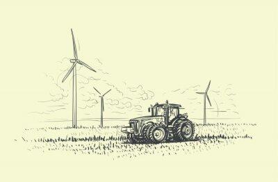Landwirtschaftliche Landschaftshand gezeichnet, Traktor und Windkraftanlagen veranschaulicht. Vektor.