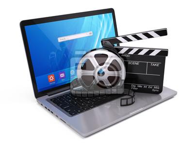 Laptop Film Und Clapper Bord Video Symbol 3d Darstellung