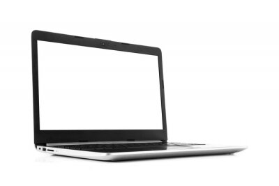 Sticker Laptop with blank screen isolated on white background - mockup template, all laptop in focus