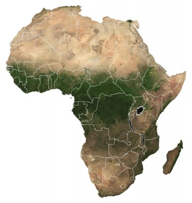 Sticker Large (97 MP) isolated satellite image of Africa with country borders. African continent from space. Detailed map of Africa in orthographic projection. Elements of this image furnished by NASA.