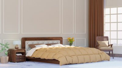 Sticker Large bedroom interior with classic  walls, Oversized King  Duvet Cover  - 3D Rendering