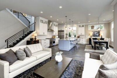 Sticker Large modern luxury living room interior in Bellevue home.