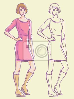 Lässiger femininer Look - Minikleid und Stiefel. Bunte Hand gezeichnet Illustration und skizzieren Skizze.
