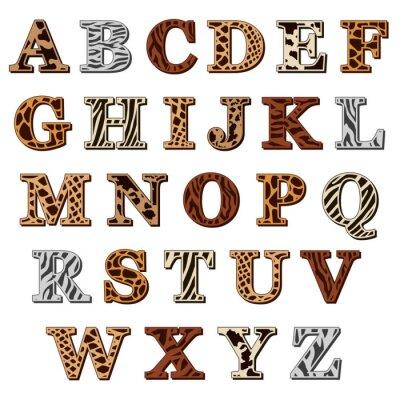 Sticker Lateinische Alphabet mit Animal-Print