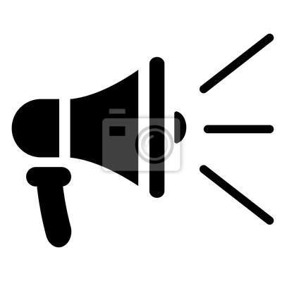 Lautsprecher-symbol auf weißem hintergrund notebook-sticker ...