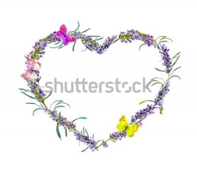 Sticker Lavendel Blumen und Schmetterlinge. Aquarellblumenherzrahmen für Valentinstag, heiratend