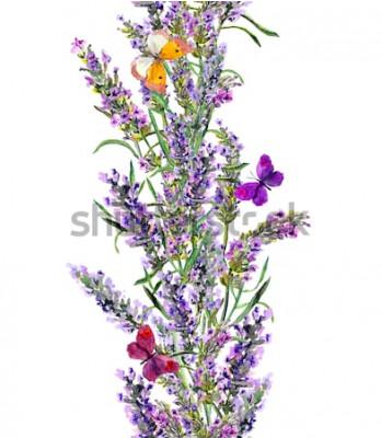 Sticker Lavendel nahtlose Rahmen und Schmetterlinge. Aquarell Streifen