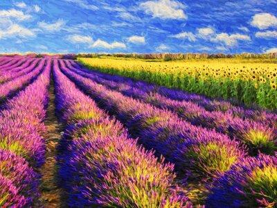 Sticker Lavendel und Sonnenblumen-Feld.