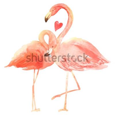 Sticker Lebende Korallenflamingos in der Liebe. Aquarell-glückliche Valentinstaggrußkarte. Handgemalt. Rosa