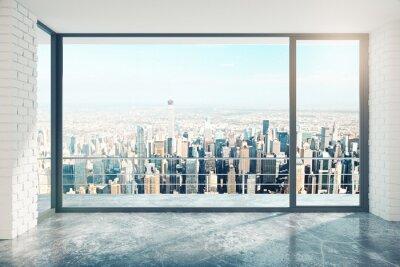 Sticker Leere Loft Zimmer mit großen Fenster im Boden und Blick auf die Stadt